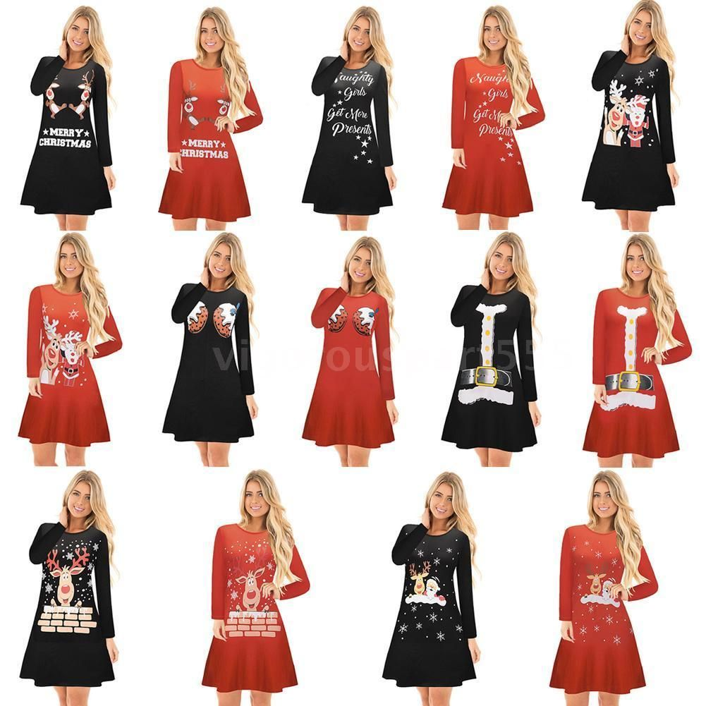 Cool awesome newly women girls santa christmas dress long