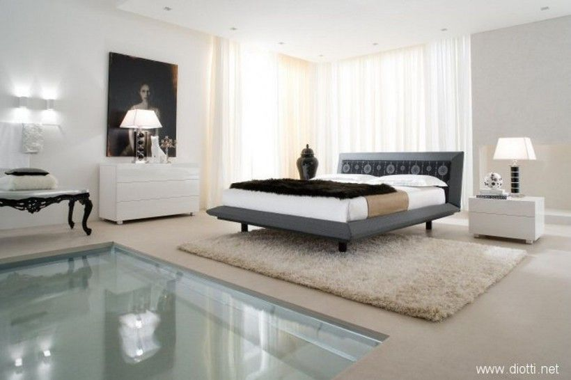 Charming Bedroom : Sweet Spacious Bedroom Suites With Acca Cover Diotti White Shag  Rug Pool White Bedding