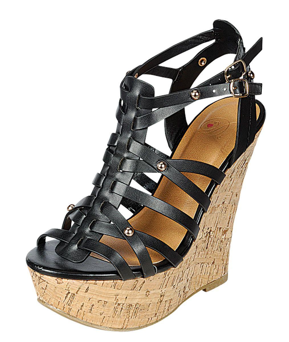 aa70cebdbdd Womens Cork Wedge Sandals Platform Heel Strappy Ankle Wrap Comfy ...