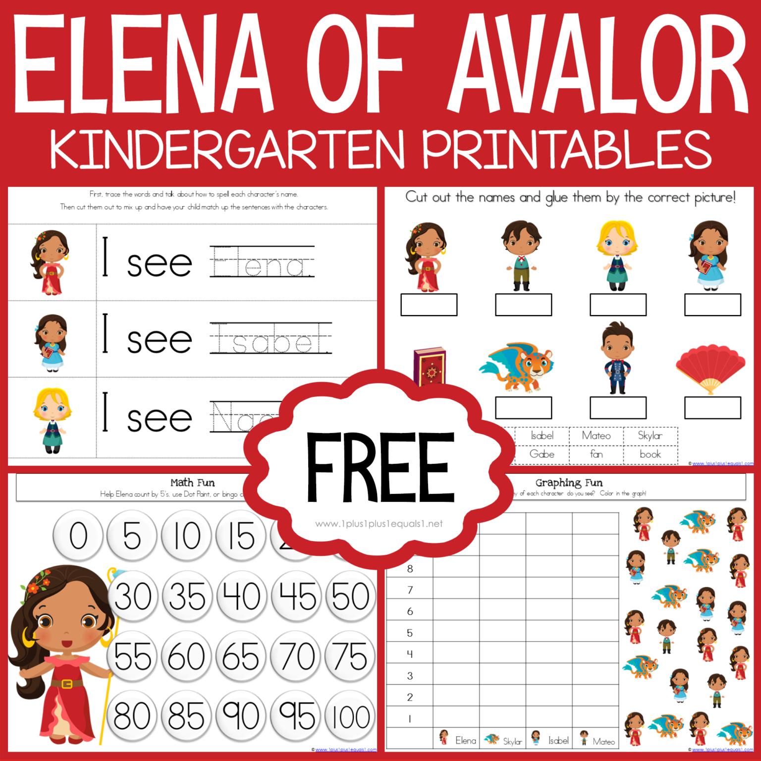 Free Elena Of Avalor Kindergarten Printables Loads Of