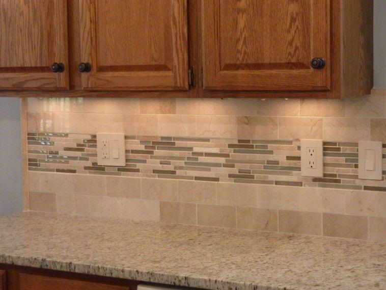 Kitchen Tiles Beige beige tile backsplash and brown wooden kitchen cabinet connected