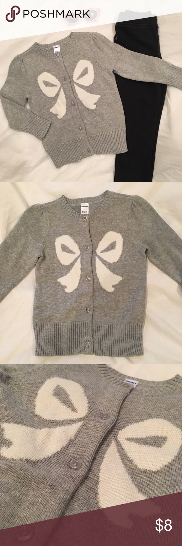 Old Navy Toddler Girl Bow Cardigan Grey/White 2T NWT • Old Navy Toddler Girl Bow Cardigan Grey/White Size 2T Old Navy Shirts & Tops Sweaters