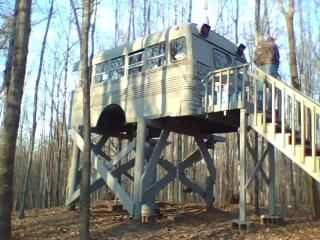 Deer Stand Made Out Of Short Bus Near Luck Wisconsin