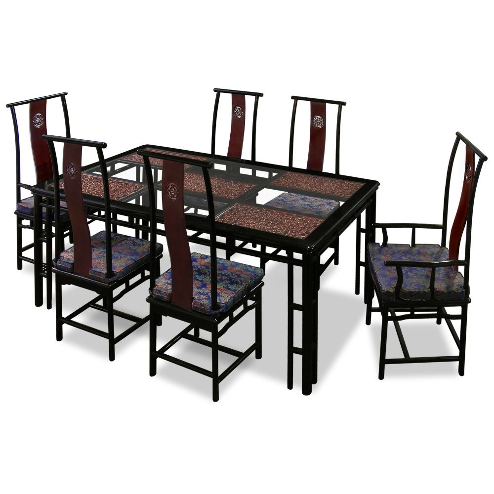 Exceptionnel 74in Rosewood Ming Style Dining Table With 6 Chairs