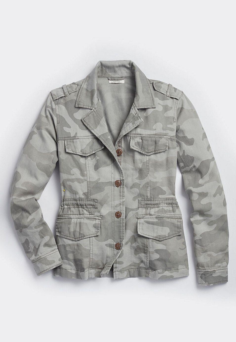 Camo cinched waist jacket waist jacket cinched waist