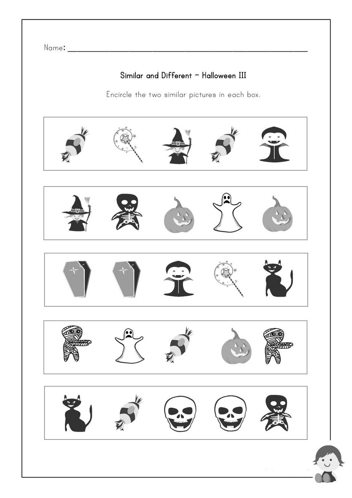 Same And Different Worksheets For Kids