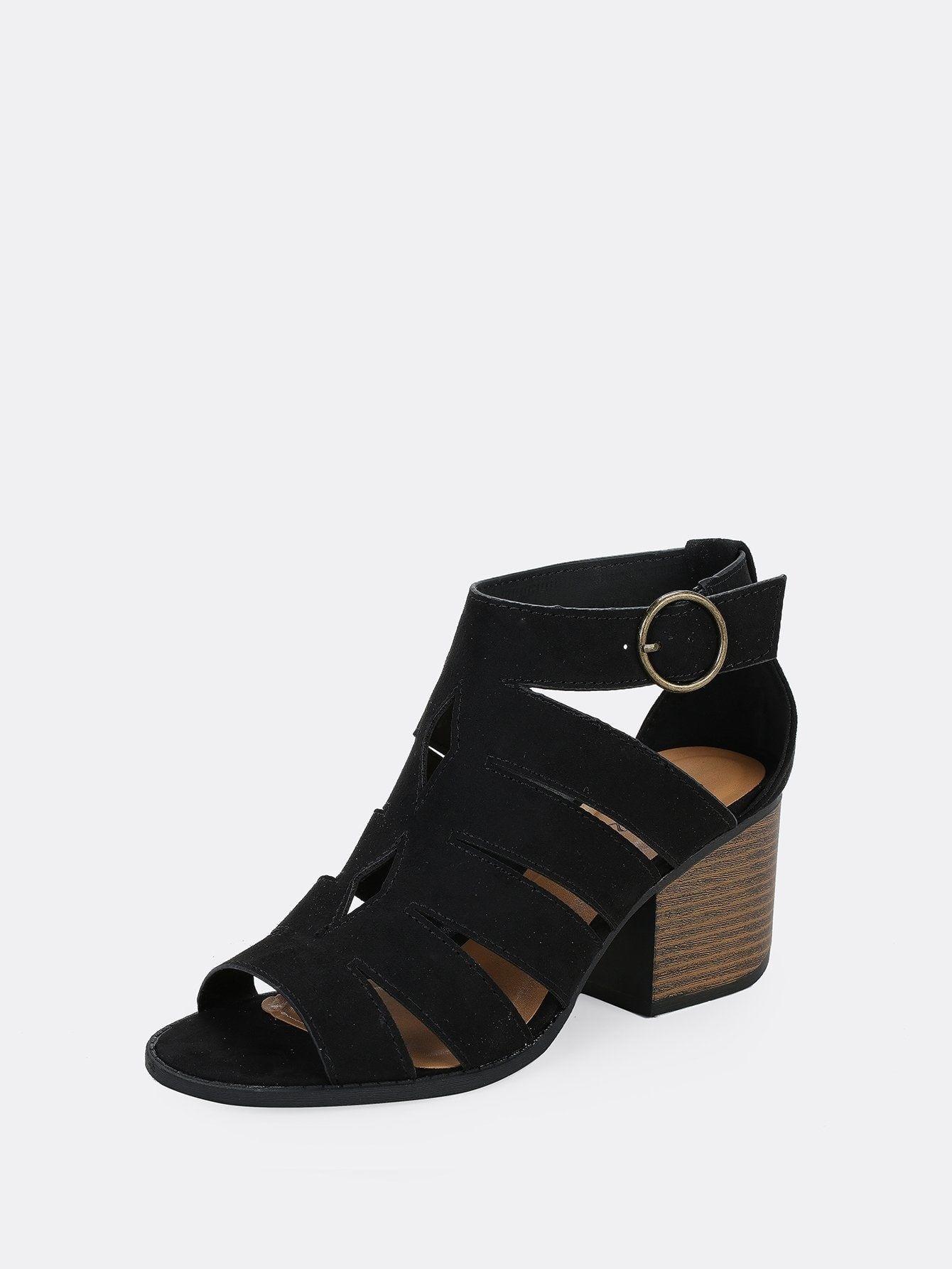 b582e20c4aa Casual Peep Toe Plain Black Mid Heel Chunky Caged Cut Out Side Buckle Chunky  Heel Sandals