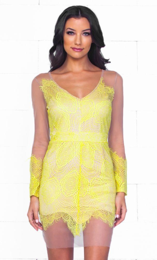 Muse yellow lace dress