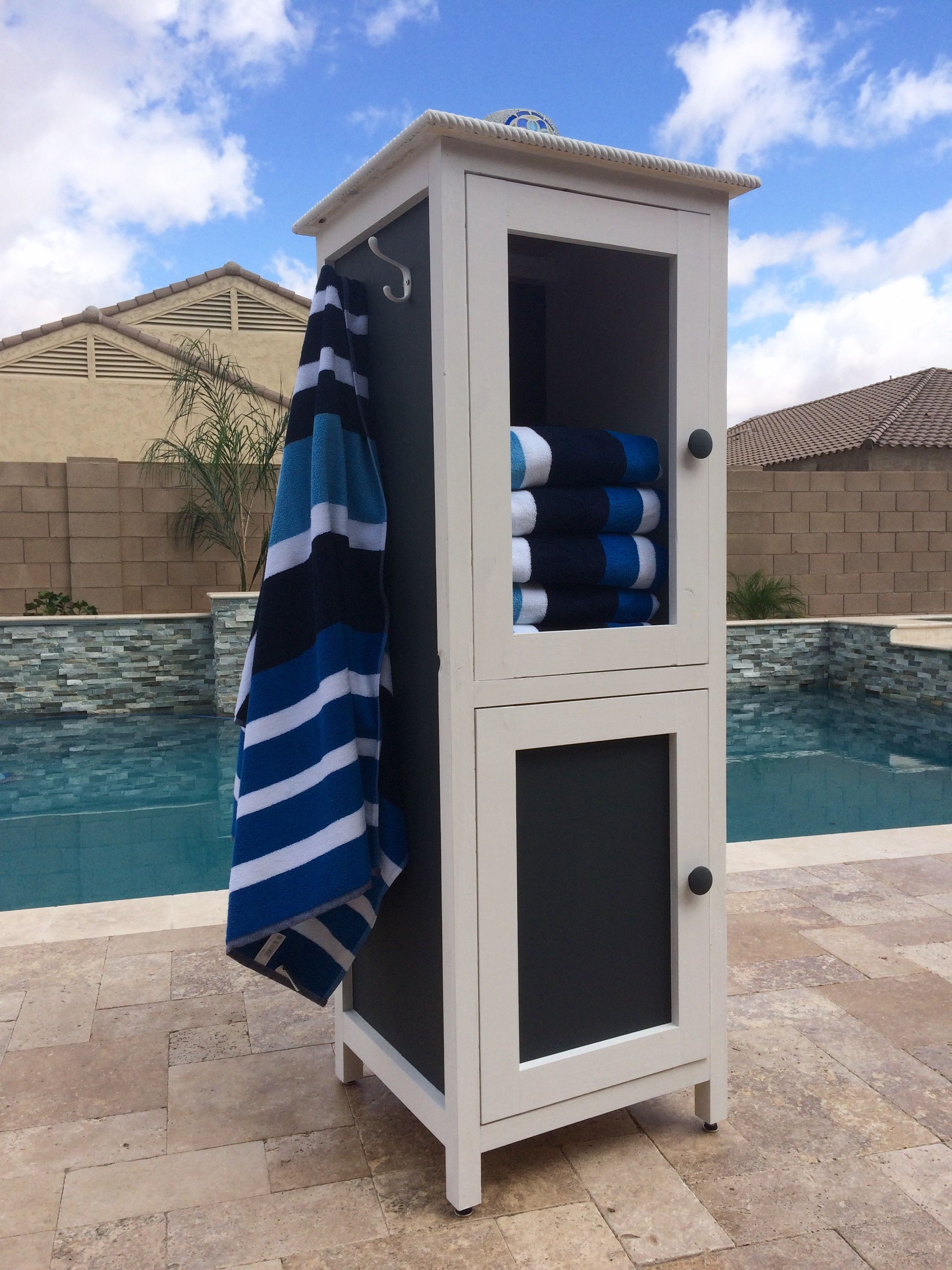 Poolside Towel Cabinet from Benchmark Cabinet Plan DIY Projects