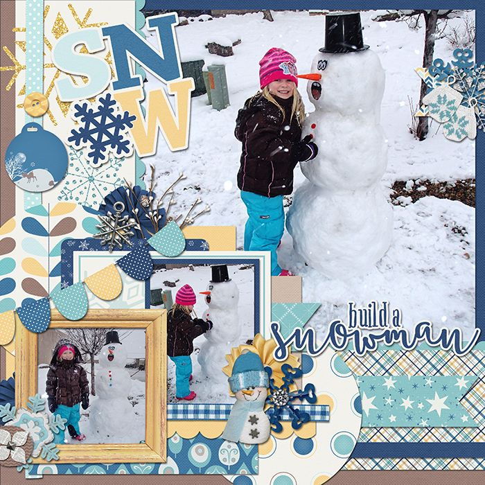 Created using Winter Woods by Heather Roselli. Snowman scrapbook layout digital