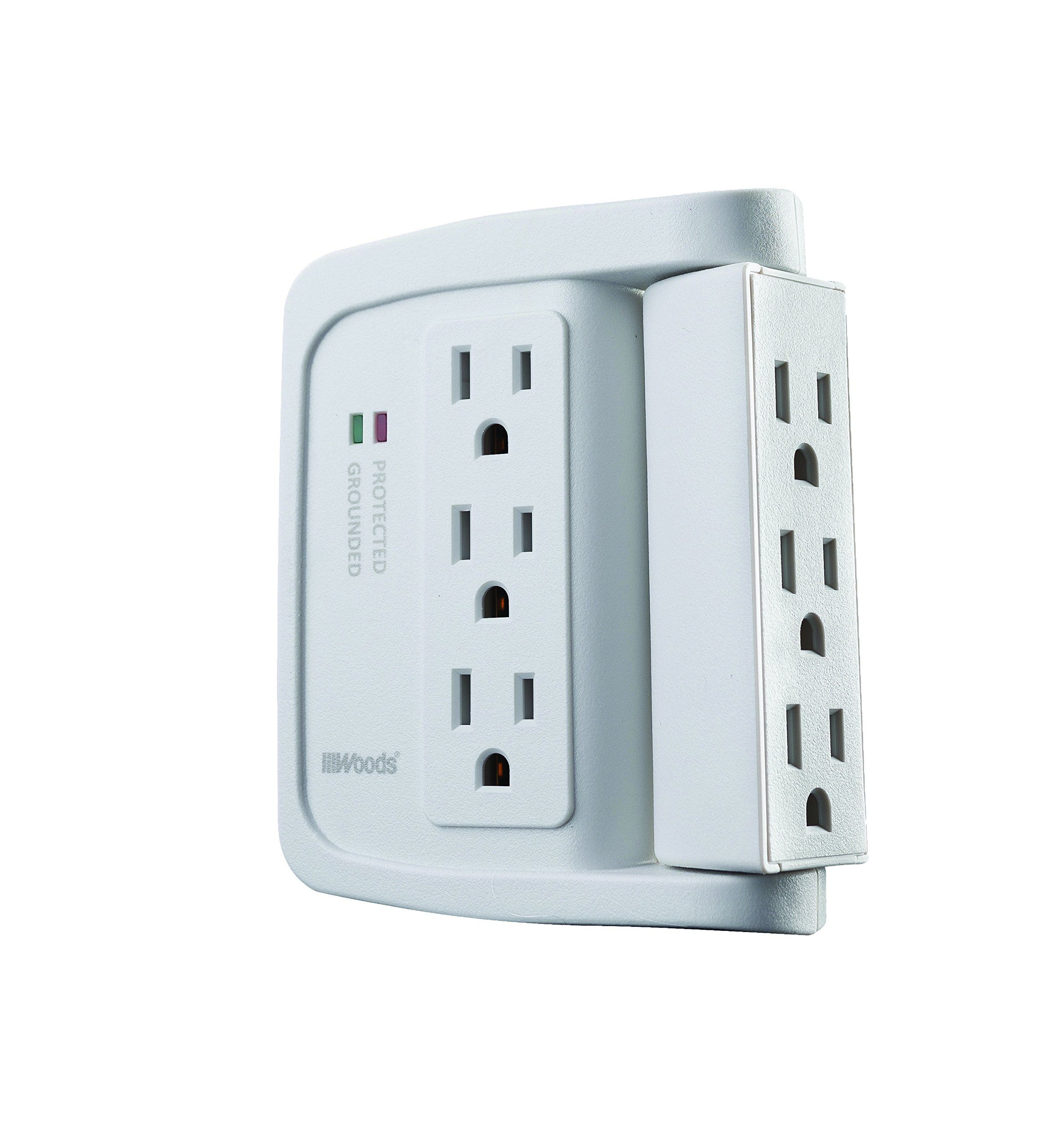 Woods 41423 Space Saving Power Adapter Surge Protector With 6 Outlets In Which 90 For 1440j Of Protection You Can G With Images Phone Cradle Save Power Power Adapter
