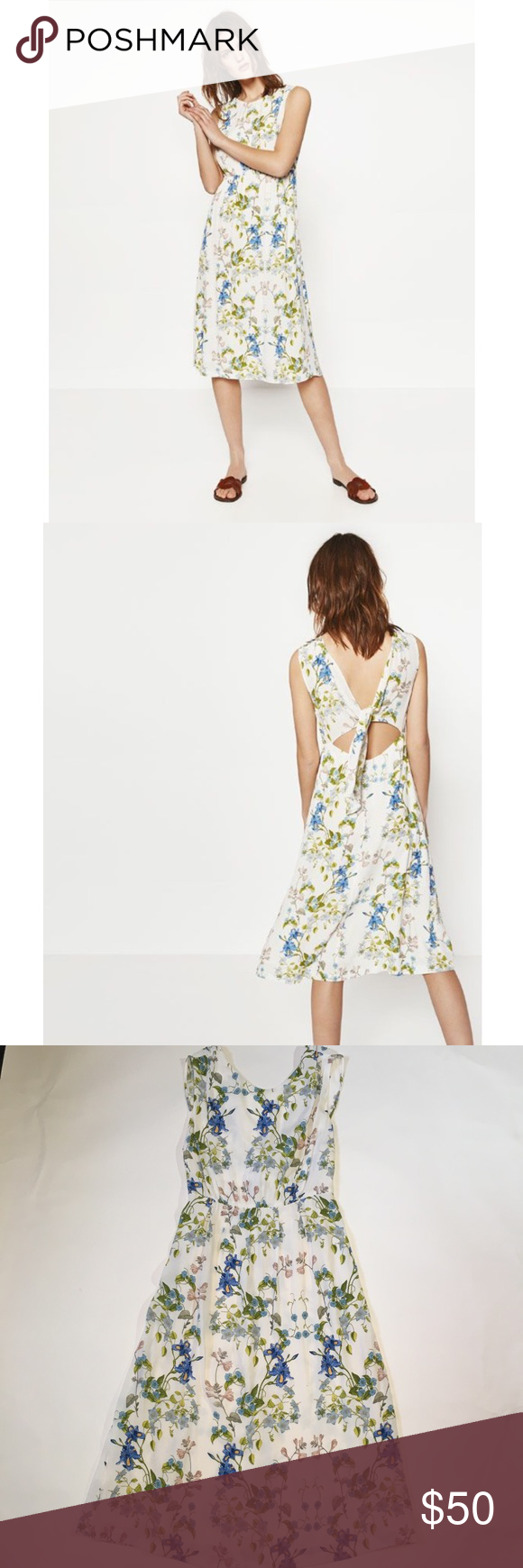 Zara White Floral Tie Back Knot Dress My Posh Picks Pinterest
