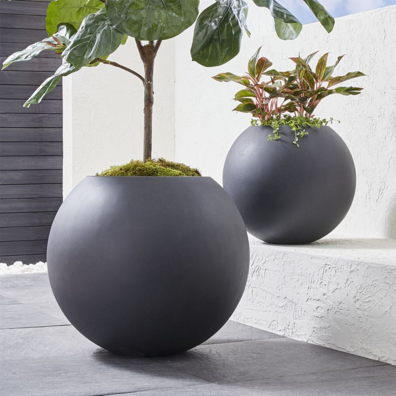 Sphere Small Dark Grey Planter Reviews Crate And 400 x 300
