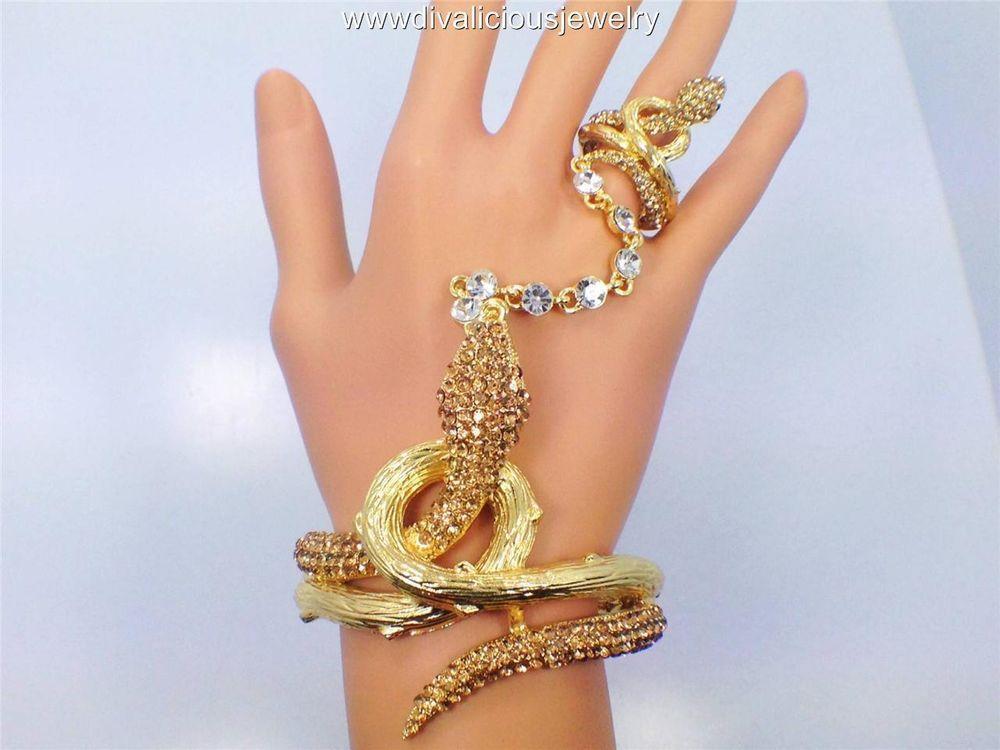 Women Infinity Symbol Charm Bracelet Fashion Hand Chain Slave Ring Silver Bling