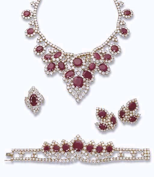 parure diamantes e rubis