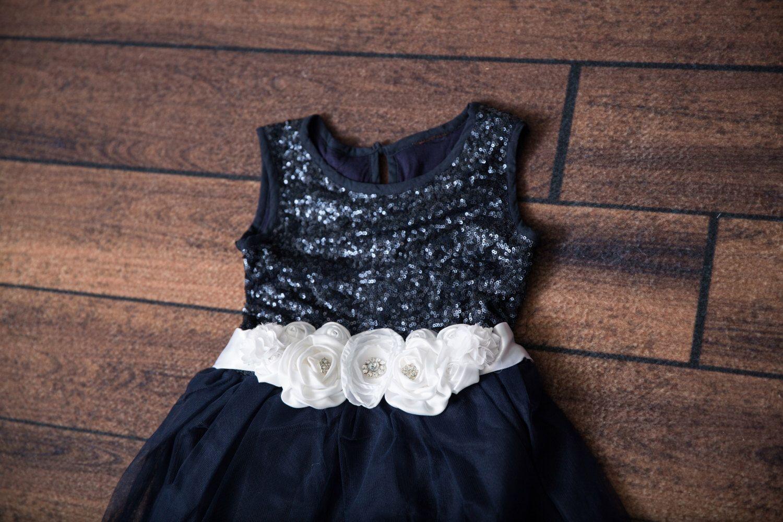 Navy tulle flower girl dress navy blue sequin wedding dress tutu
