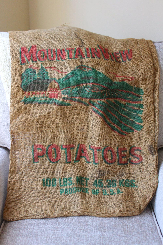 Vintage Burlap Potato Sack, Burlap Sack, Potato Sack, Mountain View Potatos, Vintage Burlap by TomatoFarmVintage on Etsy