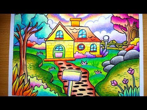 Cara Menggambar Dan Mewarnai Pemandangan Alam Dan Rumah Drawing Scenery Of Nature And House Youtube Cara Menggambar Seni Krayon Gambar