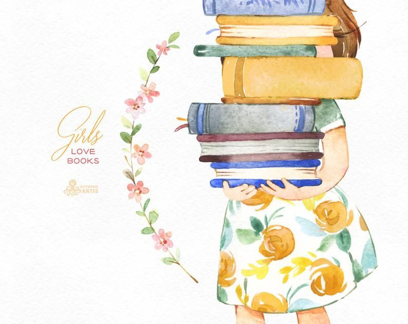 Girls Love Books Watercolor clipart, reading, flowers ... (794 x 630 Pixel)