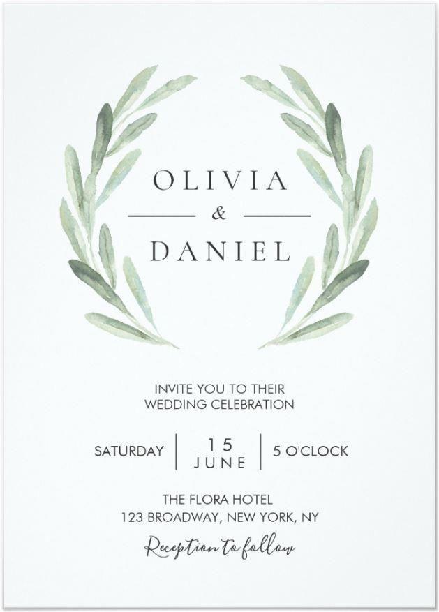 Elegant Watercolor Olive Leaf Wreath Green Wedding Invitation | Zazzle.com