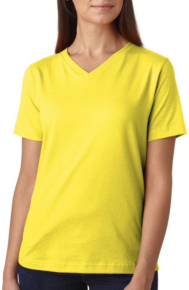 la t ladies' combed ring-spun jersey v-neck t-shirt - yellow (s)