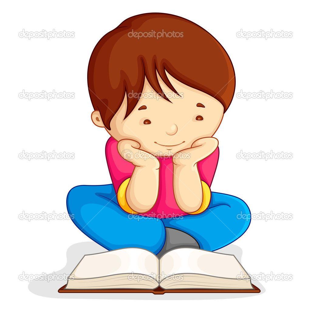 Nino Leyendo Libro Abierto Reading Books Illustration Open Book Vector Illustration