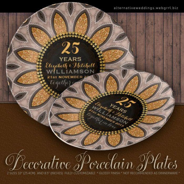 gold glitter sunflower modern 25th anniversary plate gold