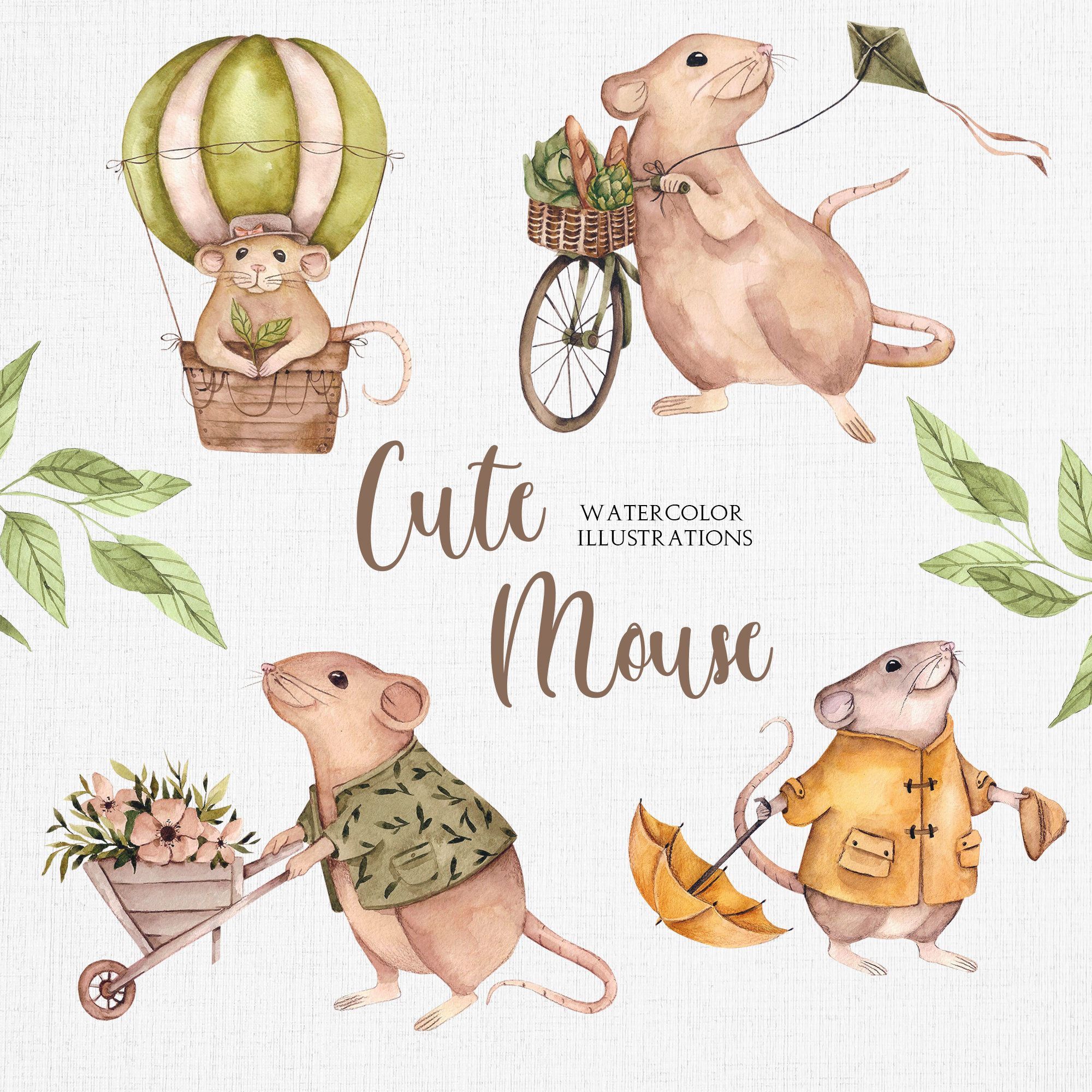 Little Animals Watercolor Clipart Funny Mouse Babyshower
