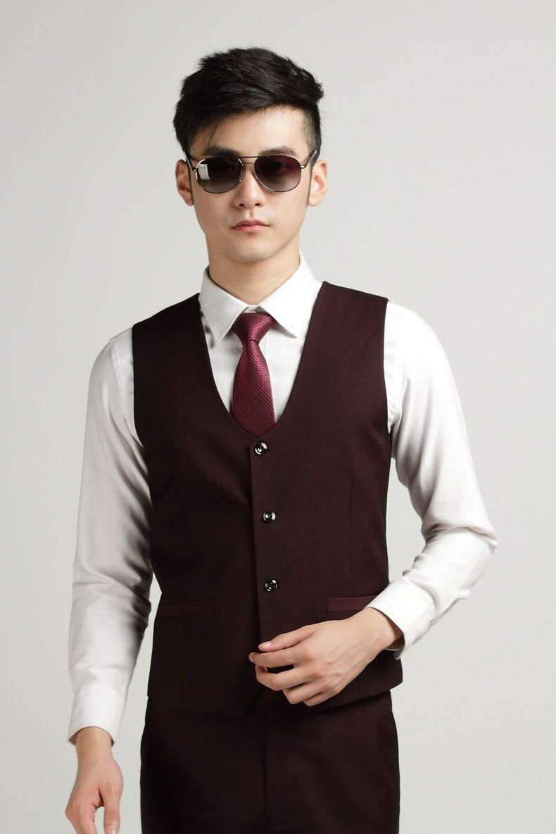 Wine Red Vest Men | Autumn Fashion Men's Office Formal Business ...