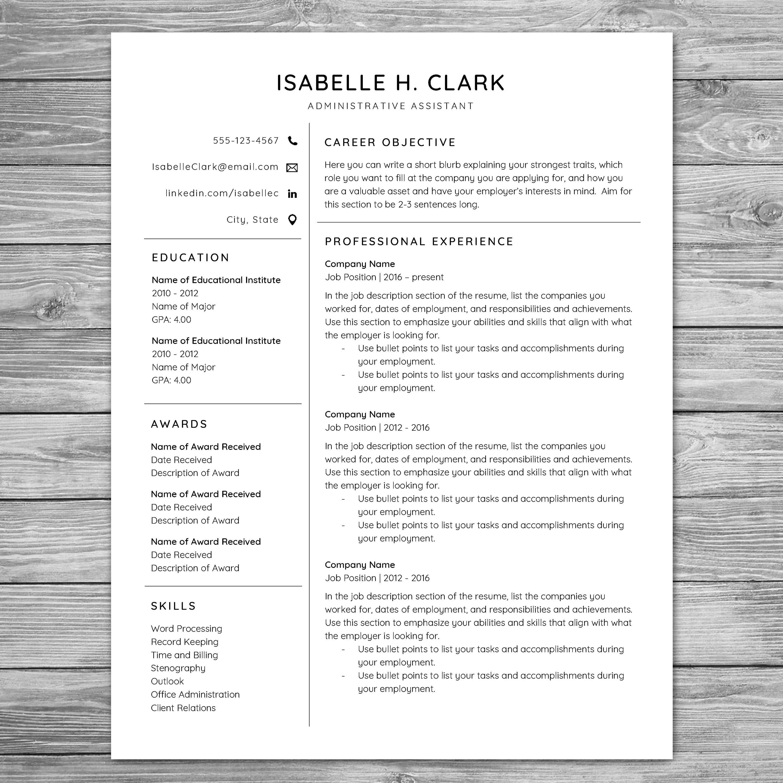 Professional Minimalist Resume Template, CV Template