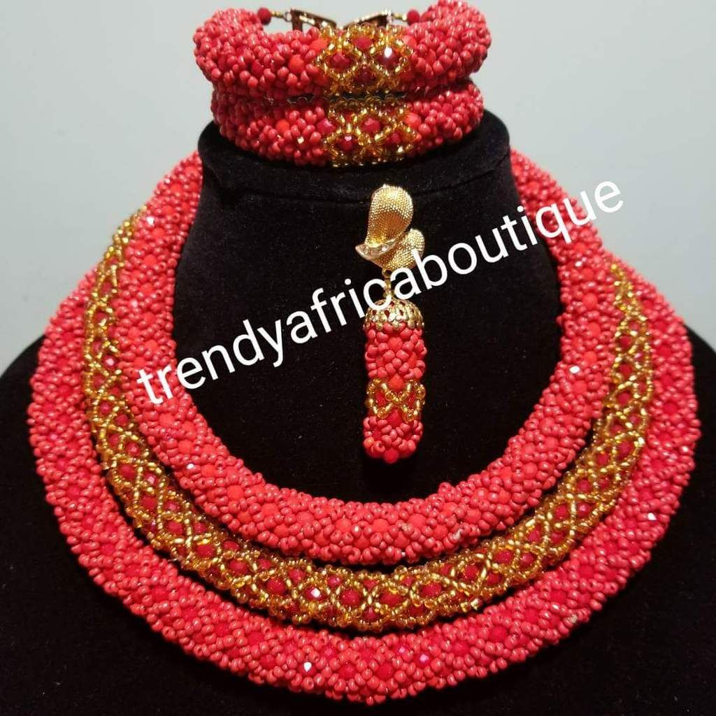 Nigerian traditional wedding Coral beaded-necklace set. 3 rows of ...