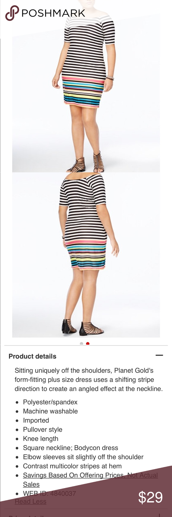 New planet gold plus size off the shoulder dress nwt stripe print