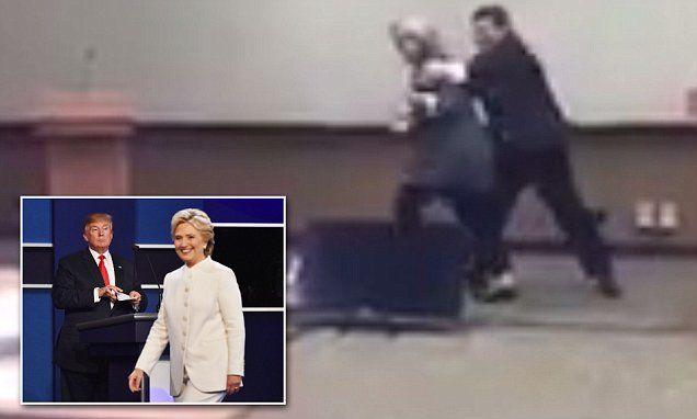 Video shows Hillary Clinton practiced avoiding hug from Donald Trump