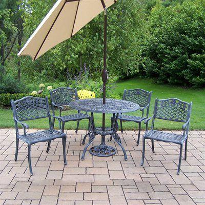Oakland Living 3011-3012-4005-BG-4101 Tea Rose Five Piece Outdoor Dining Set with Tilting Umbrella