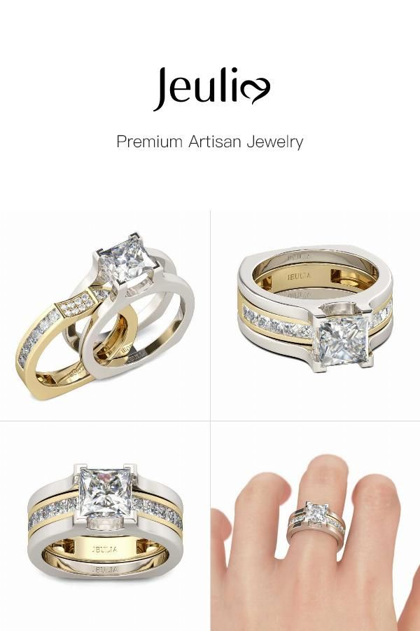 Two Tone Princess Cut Sterling Silver Ring Set In 2018 All Wedding