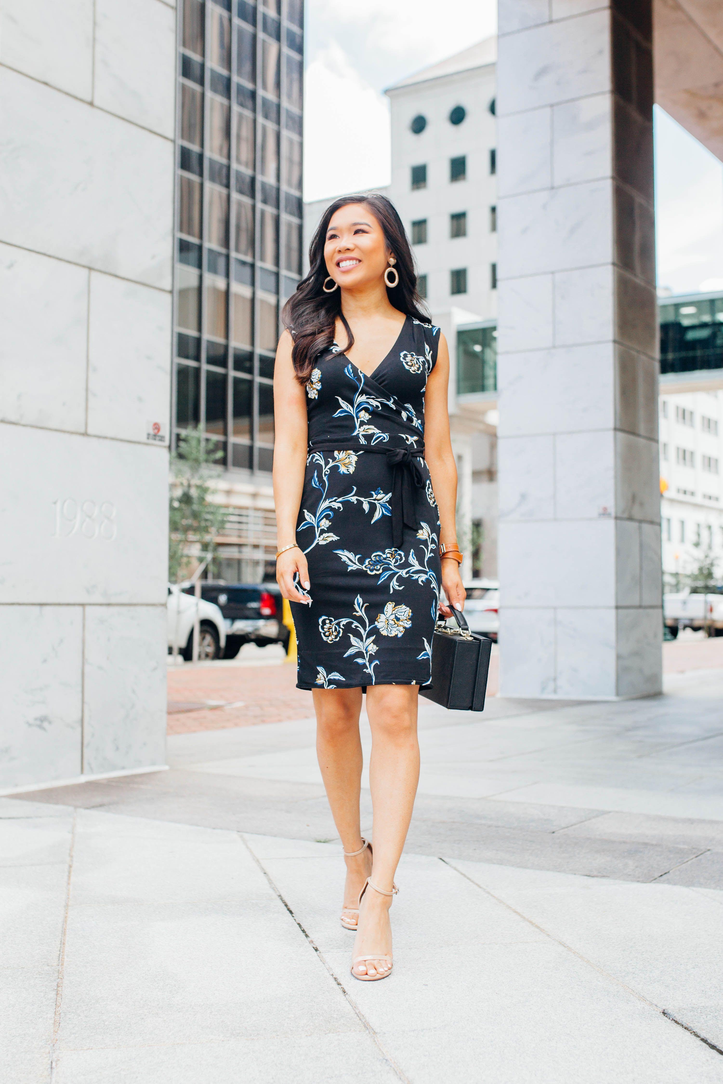 3964b6b77f45 Blogger Hoang-Kim wears a reversible floral surplice dress