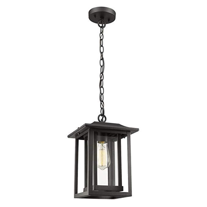 Amazon Com Outdoor Pendant Light Beionxii Large Exterior Hanging Lantern Matte Black With Clear Glas Outdoor Pendant Outdoor Pendant Lighting Hanging Lanterns