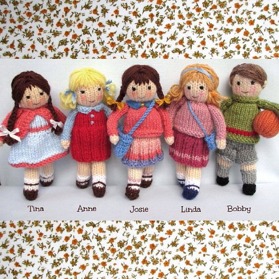 Little Friends in Autumn - 6 (15cm) - toy doll knitting pattern - pdf INSTANT DOWNLOAD - Dollytime knitted doll #toydoll
