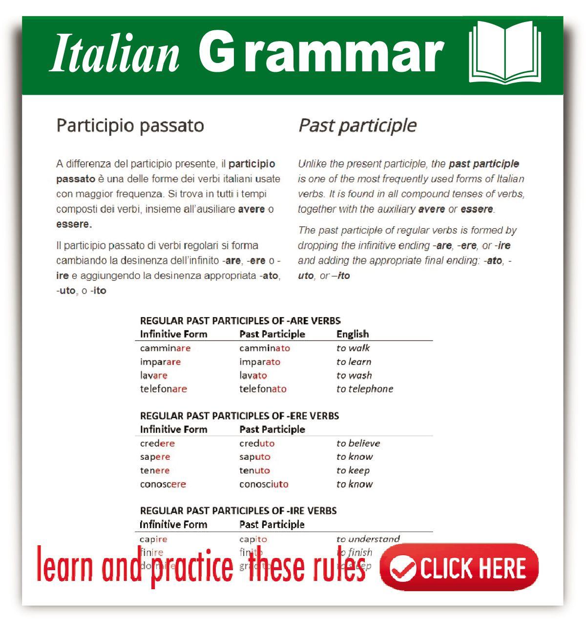 Learning Italian Grammar Worksheet En