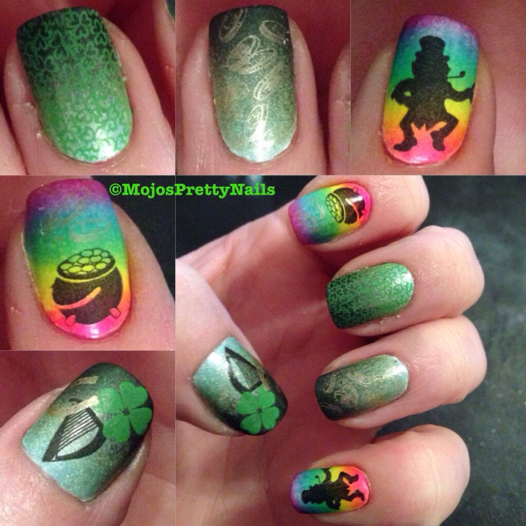 St Patricks, st Paddys, Irish, green clover, luck, gradient, nails ...
