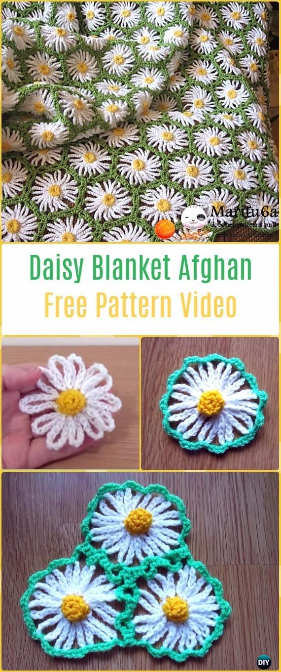 Crochet Daisy Blanket Afghan Free Pattern Video - Crochet Daisy ...
