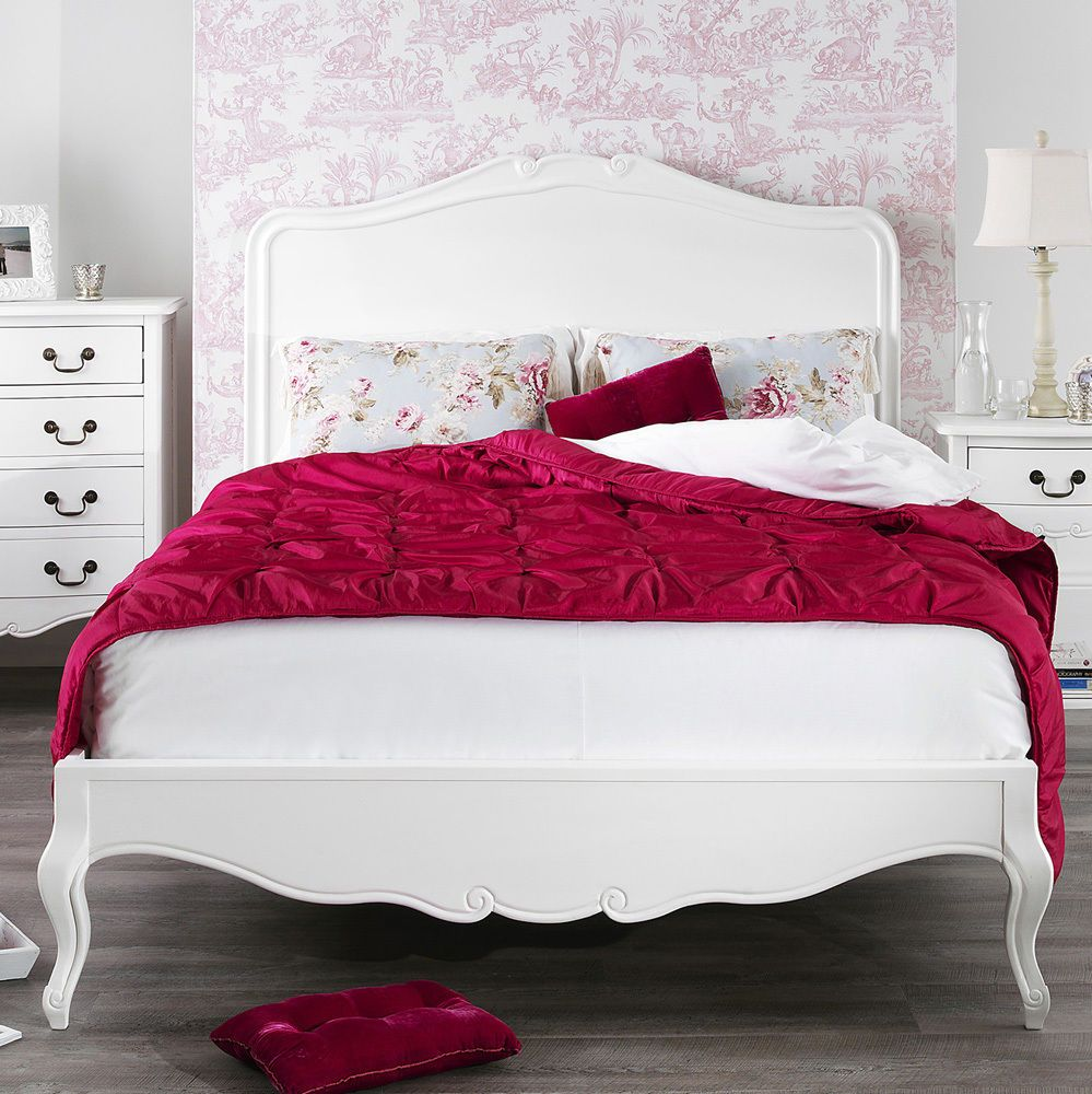 Details About Juliette Shabby Chic White Kingsize Bed 5ft French