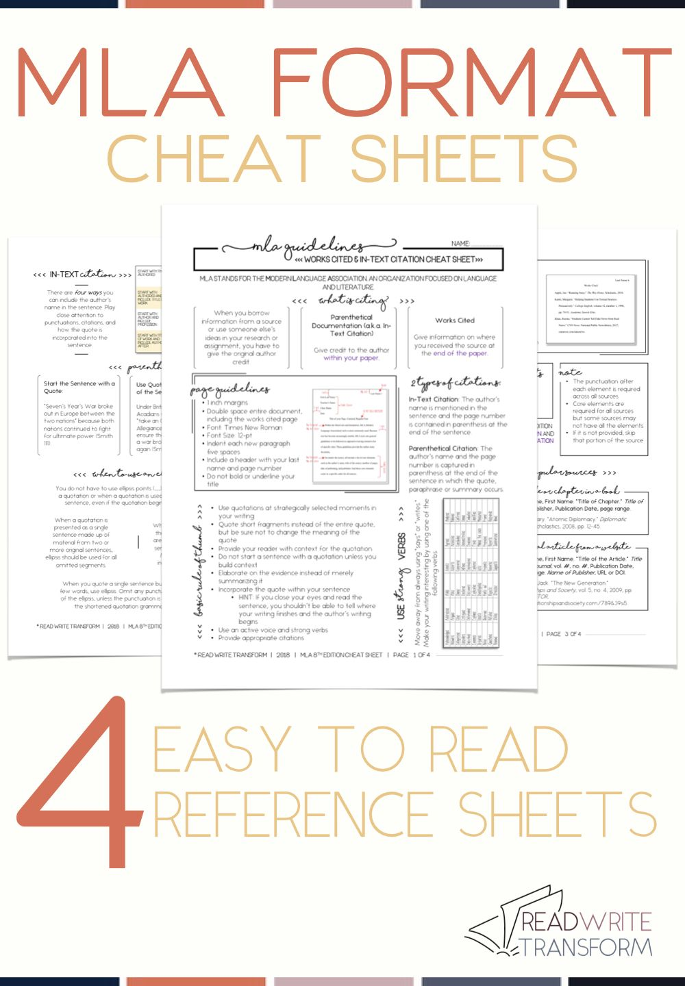 Updated 2019 Mla 8 Format Cheat Sheet With Images Mla Format