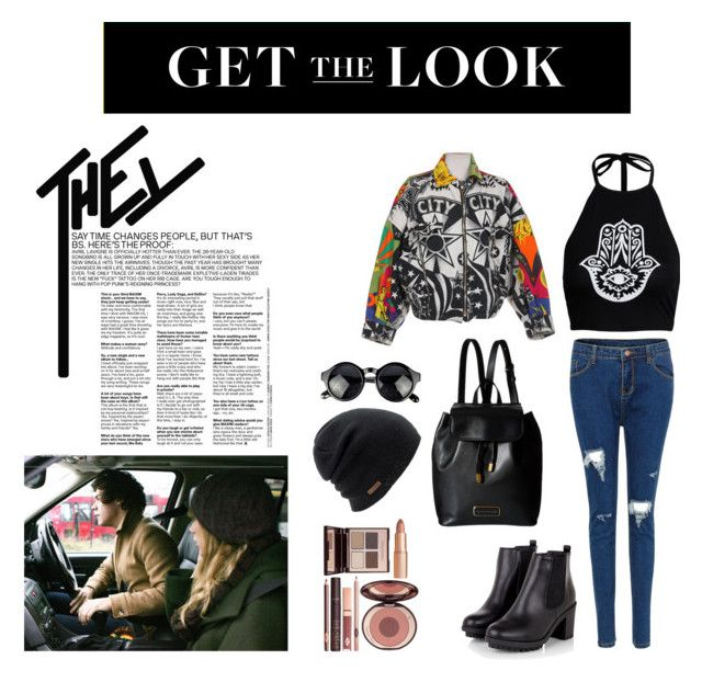"""""""Celebrity Style"""" by dellaila on Polyvore featuring Versace, Boohoo, Marc by Marc Jacobs, Coal, Charlotte Tilbury, CelebrityStyle and airportstyle"""