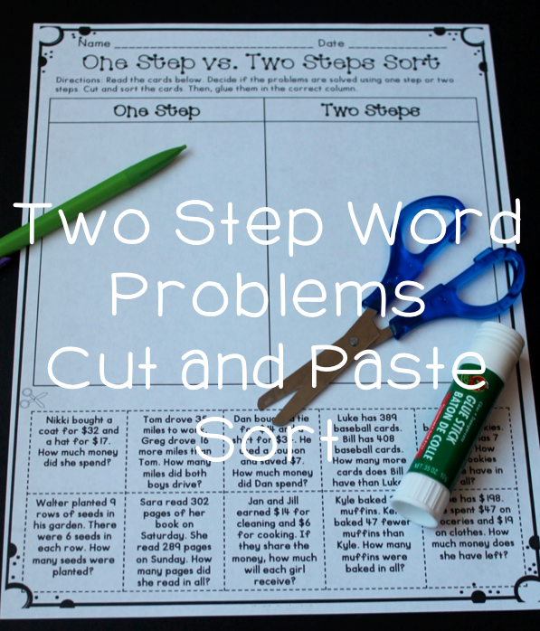 Two Step Word Problem Activity - cut and paste sort One step vs. two ...