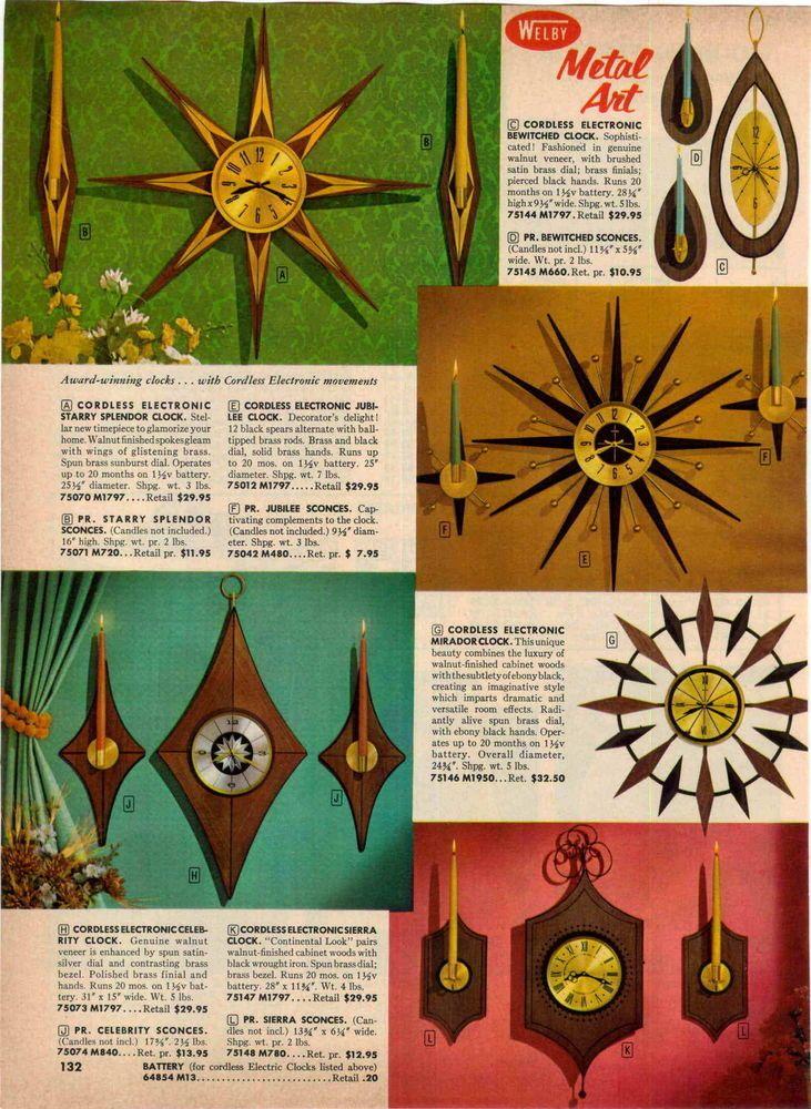 1967 AD Welby Mid Century Sunburst Wall Clocks Candle Holders Metal Art