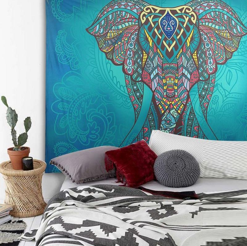 Toile Murale Mandala Elephant Bleu