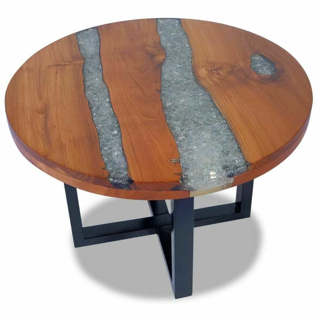 Vidaxl Solid Teak Coffee Table Resin Handmade Paint Finish Side End Couch Tale Sofa Table Ideas Of Sofa Table Table Basse Table Basse Teck Table Basse Bois