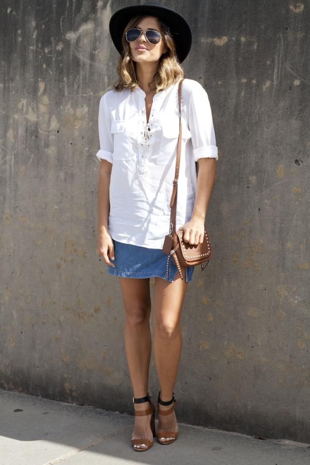 How to Wear a Denim Skirt - Denim Mini Skirt and White Work Shirt ...