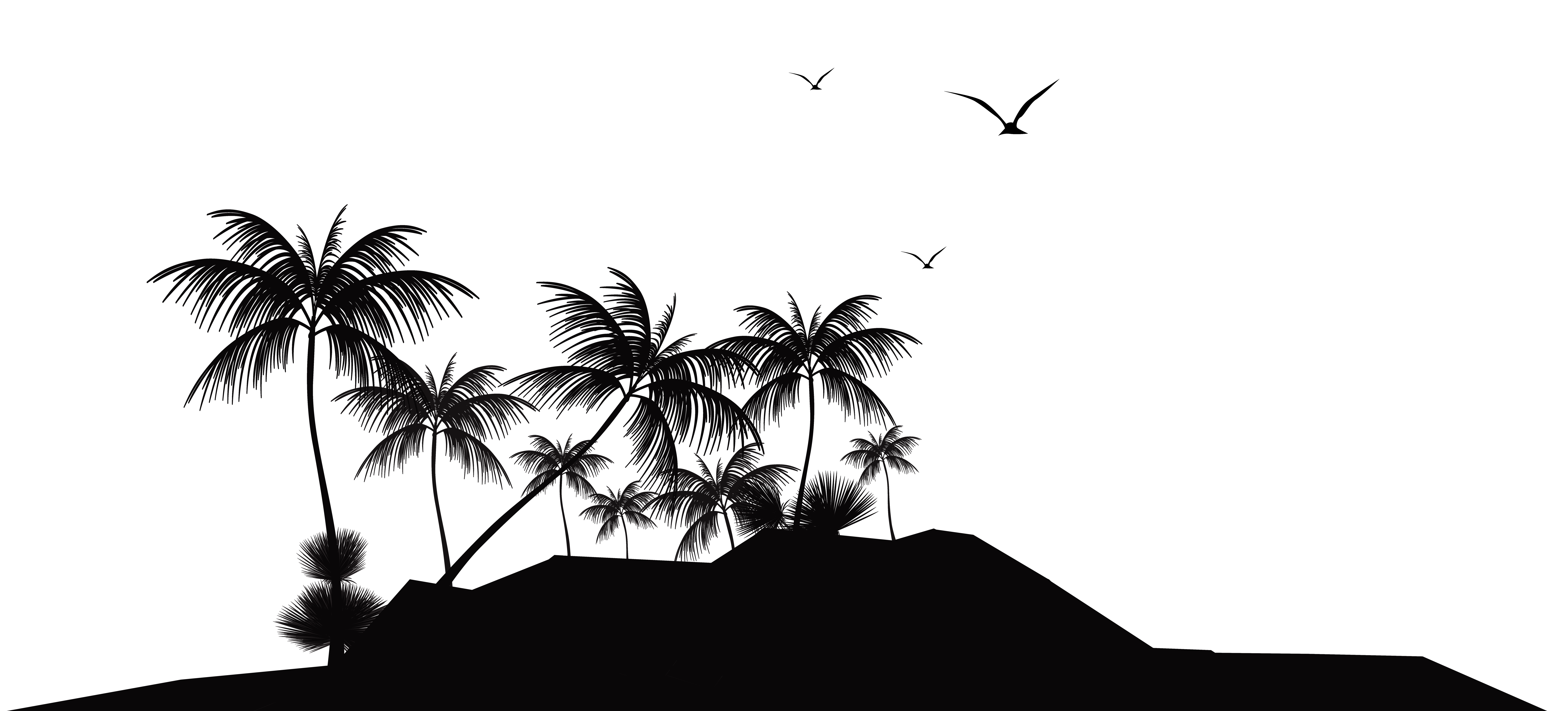 Tropical Island Silhouette Clipart Png 8000 3629 Silhouette Png Clip Art Tropical Islands